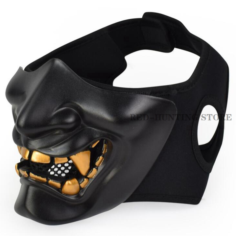 Half Face Mask Cosplay Kabuki Samurai Devil Halloween Party Festival Costume Party And Movie Prop Horror Face