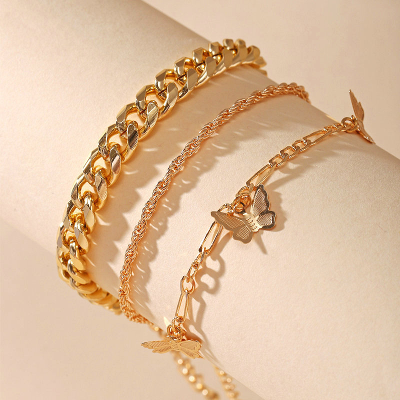 New Butterfly Chain Multilayer Anklet Creative Simple Golden Anklet Set 3 Pack Ladies Matching Package Anklet Gift Anklet