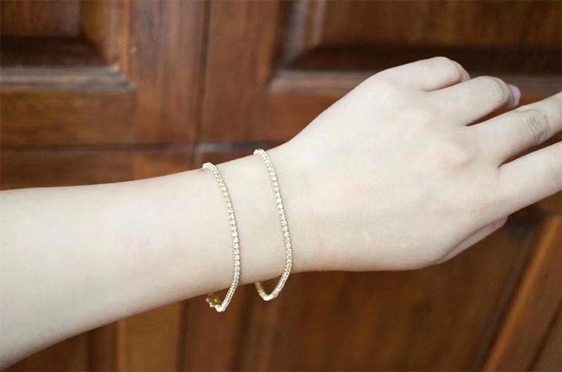 LUOWEND 18K Au750 Solid Yellow Gold Bracelet Real Natural Diamond Bracelet Fashion Tennis Bracelet Fine Jewelry Customize 6