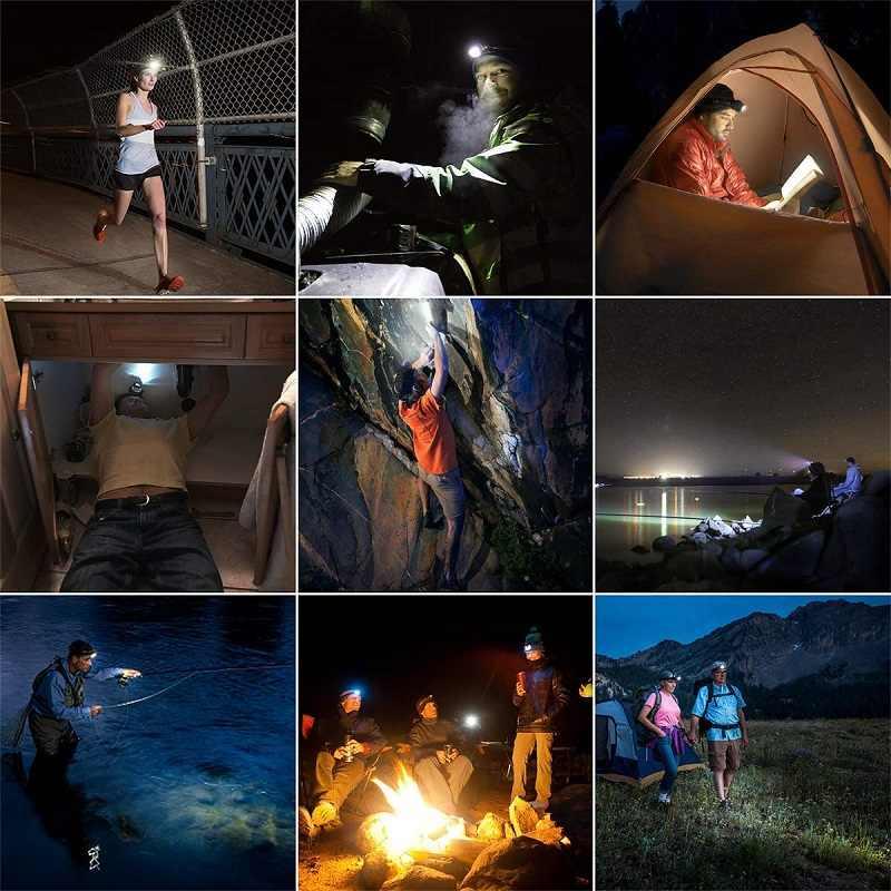 5000 lúmenes LED faro cuerpo recargable Sensor de movimiento cabeza lámpara Ultra brillante mejor con Camping USB, pesca