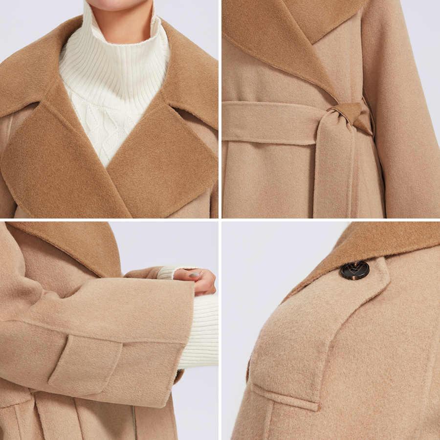 Miegofce 2019 Musim Gugur Mantel Musim Dingin untuk Wanita Kasmir Jaket Warna Solid Ketat Sabuk Wol Panjang Longgar Wanita Besar Ukuran Pakaian