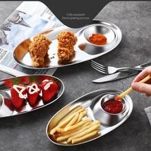 Plato de cena de acero inoxidable de 3 secciones, plato dividido redondo para aperitivos, platos plateados de almacenamiento plateados, cubiertos coreanos, 1 ud.