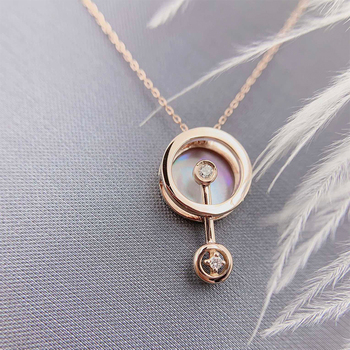ANI 18K Solid Rose Gold Pendant Necklace Real Natural Diamond Fine Jewelry Women Engagement Necklace Birthday Gift Pear Shell 4