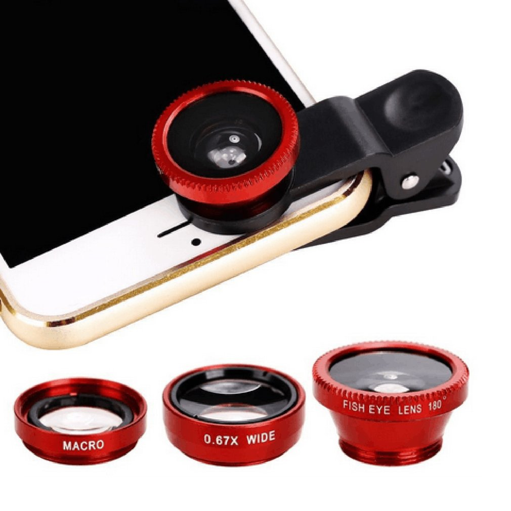 3-in-1 Wide Angle Macro Fisheye Lens Camera Kits Mobile Phone Fish Eye Lenses with Clip 0.67x for iPhone Samsung HUAWEI xiaomi