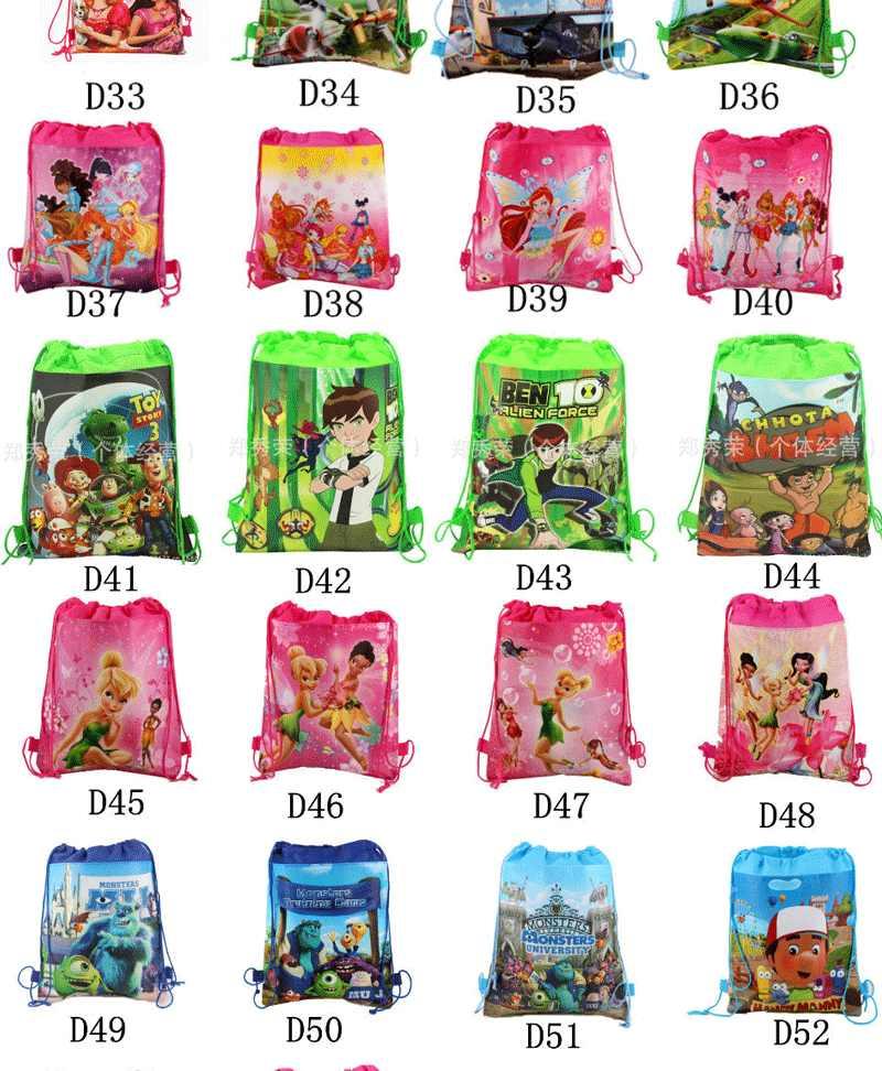 1 pçs mickey tecidos não tecidos crianças favor bolsa de viagem armazenamento roupas sapatos sacos de cordão de algodão sacos escola portátil mochila