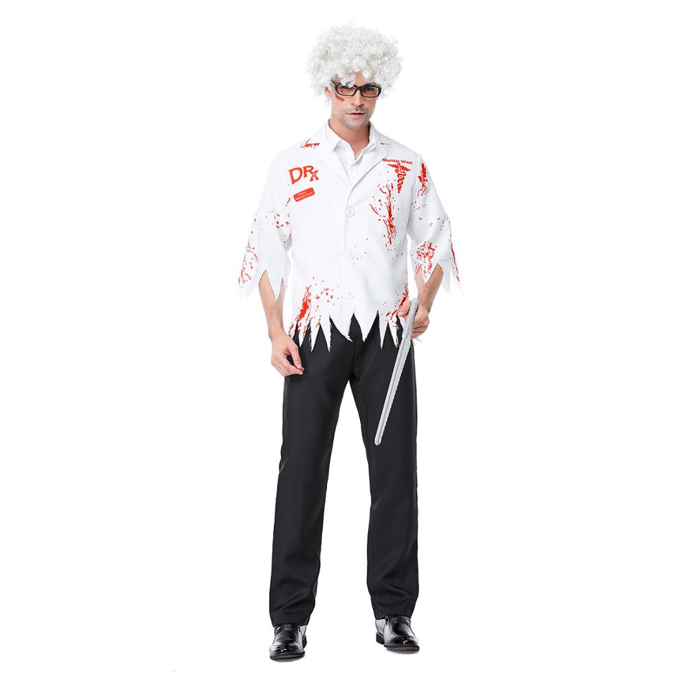 Adults Chainsaw Madman Costume Halloween Crazy Scientist Uniform Fancy Dress Men Zombie Cosplay Party Outfits Dress Up Clothing