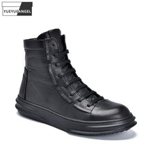 Brand 2021 Winter Warm Short Plush Genuine Leather Boots Mens Ankle Boots Lace Up High Top Sneakers Cowhide Shoes Cargo Boots