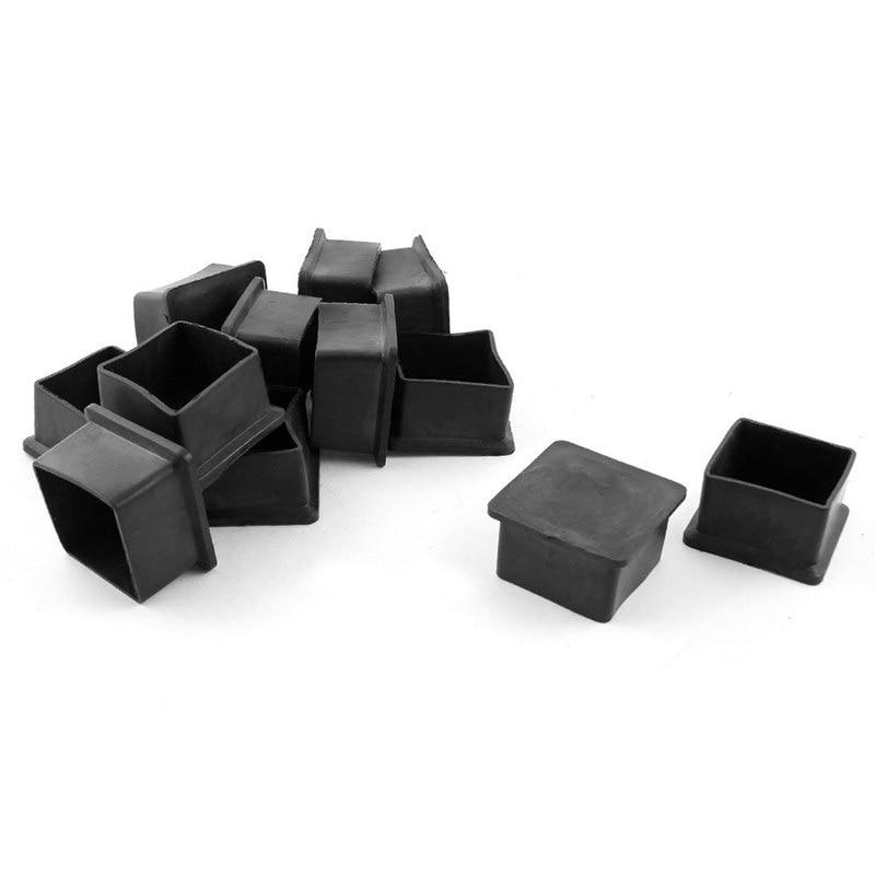 ABFU-12Pcs Furniture Square Chairs Leg Protectors Rubber Feet 40mmx40mm Black