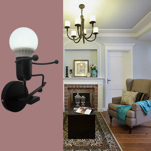 Image 3 - 철 Led 벽 램프 미국 크리 에이 티브 벽 조명 금속 만화 로봇 Sconce 벽 빛 침실 어린이 룸 Luminaire