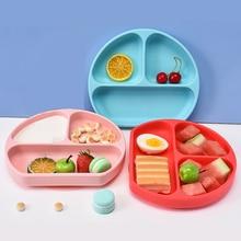 Children Dishes Baby Silicone Plate Child Training Sucker Bowl Tableware Set  Baby Feeding Tableware Set Kids Safe Plate