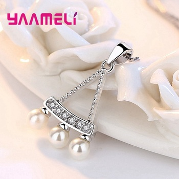 Women Fine 925 Sterling Silver Crystal Pearl Pendant Necklaces for Wedding Engagement Anniversary Gifts Fashion Accessory 4