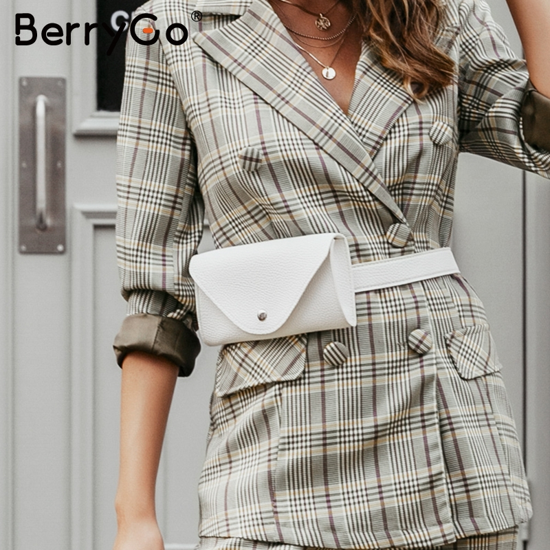 BerryGo Trendy Pu Leather Women Waist Bag Casual Ladies Fanny Pack Crossbody Bags Button Belted Adjustable Female Messenger Bags