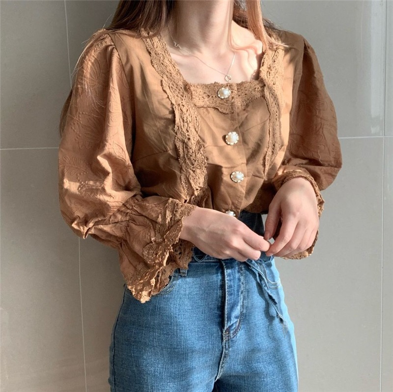 H4720ca00c6d64167a356fe6fd29d6f2cf - Spring / Autumn Square Collar Flare Sleeves Hollow Out Pearl Buttons Blouse