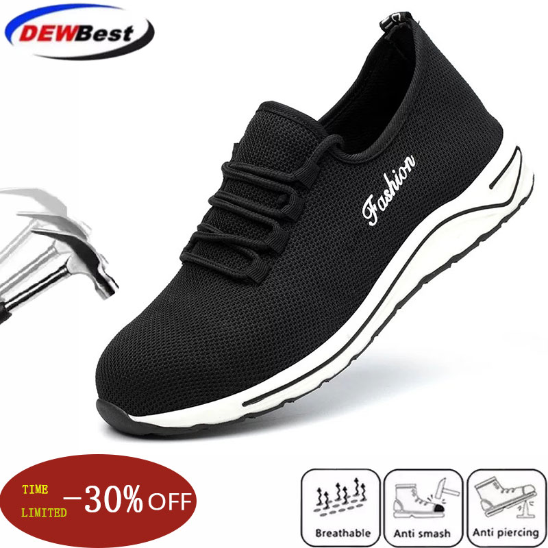 New exhibition Men fashion Lightweight safety shoes Breathable Anti smashing steel toe caps work shoes Mens Casual Sneaker Boots|Safety Shoe Boots| |  - title=