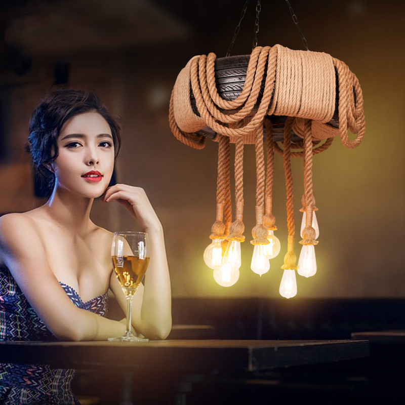 Lámpara de techo personalizada luces colgantes nórdico Retro Ropa creativa cafetería para comprar cuerda de cáñamo