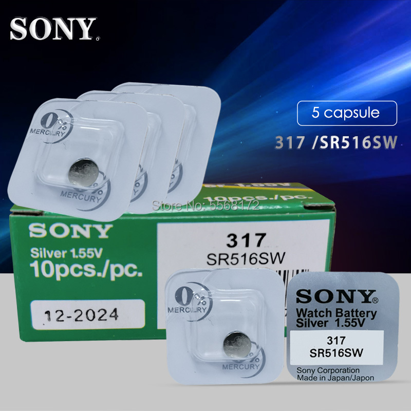 5pcs Brand New Sony LONG LASTING 317 <font><b>SR516SW</b></font> SR62 D317 V317 Watch Battery Button Coin Cell JAPAN Made 100% Original image