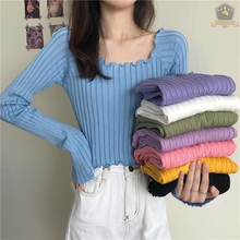 Autumn Winter Woman Hot Girl Sweater Pullover Slim Solid Color Long Sleeves Shirt Strips Casual Women Short  Knitted Tops