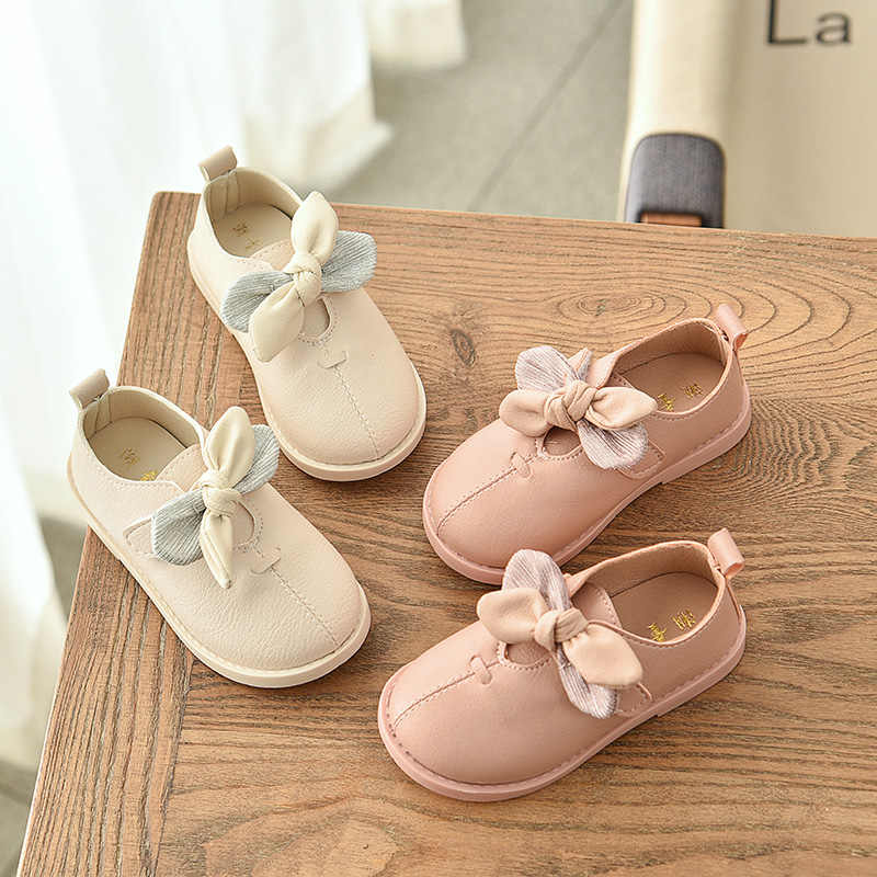 sweet Kids Princess Baby Girl Leather Shoes lovely  Bowknot Pure Color Children girls Moccasins Soft Autumn SM029
