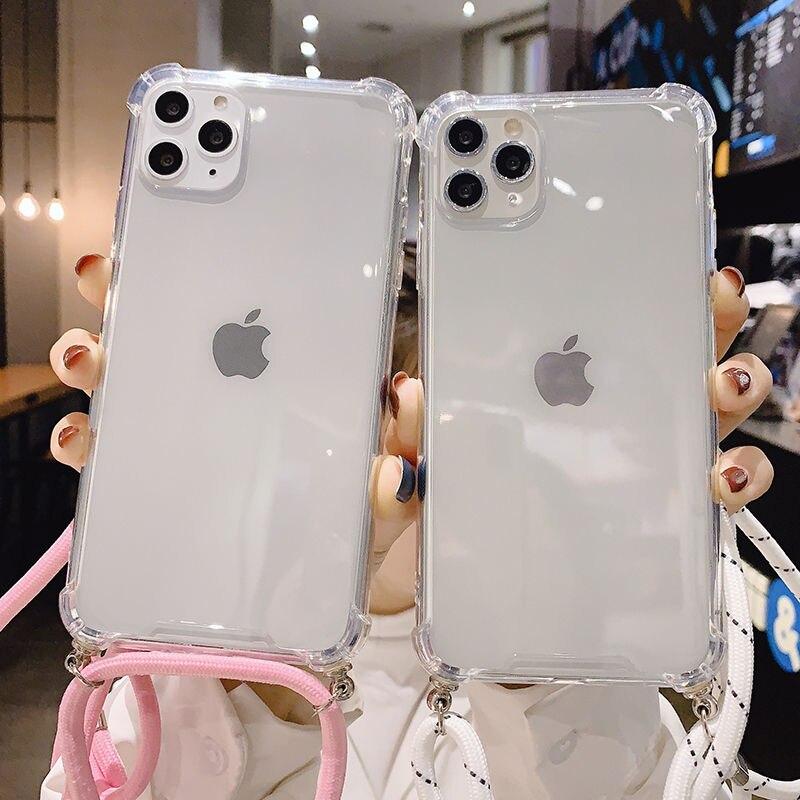 Funda de teléfono con cordón de collar para iPhone, Correa suave y transparente para iPhone 12 11 Pro Max 7 8 Plus 11Pro Max X XR XS Max 1
