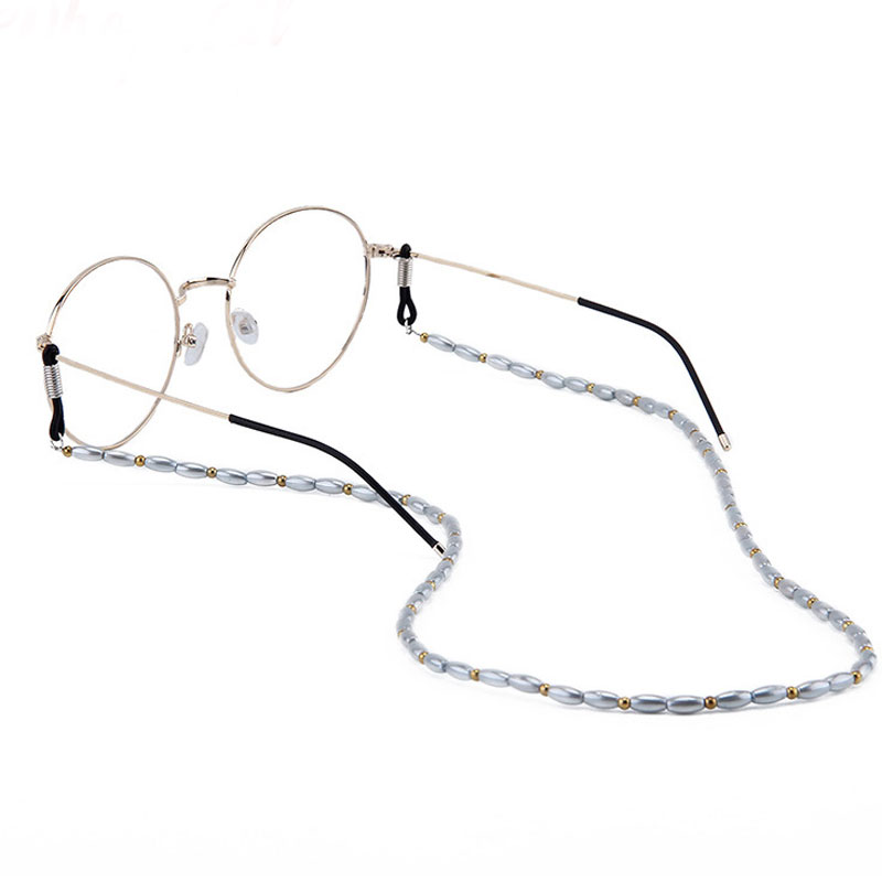Solid Color Faux Pearl Beaded Glasses Chain & Lanyards Eyeglass Neck Strap Rope For Glasses