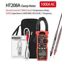 Pince multimètre testeur AC, tension, courant continu, Diode de température, continuité NCV Test multimètre HT208A/HT208D
