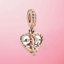2020 lato nowy 925 srebro liny serce i miłość kotwica Dangle koraliki Charm w stylu Fit oryginalny Pamura bransoletka naszyjnik biżuteria