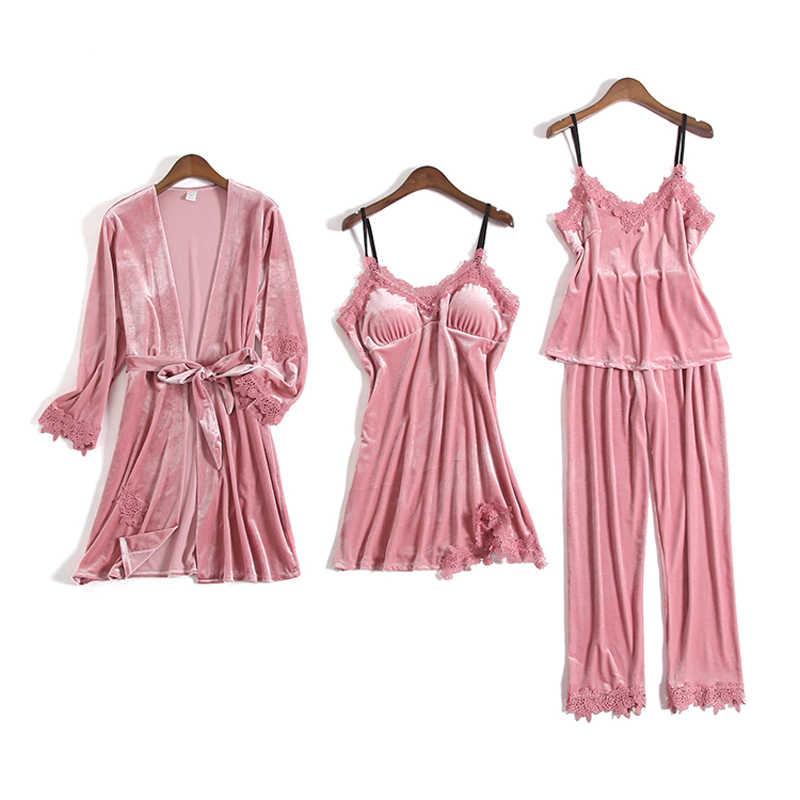 Золотые бархатные пижамы для женщин 4 шт. зимний костюм домашняя одежда женский элегантный кружевной халат пижамные комплекты одежда для сна без рукавов ночное белье