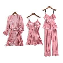 Gold Samt Pyjamas Für Frauen 4 Stück Winter Anzug Hause Kleidung Frau Sexy Spitze Robe Pyjamas Sets Nachtwäsche Ärmellose Nachtwäsche