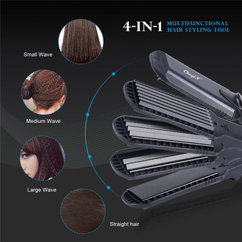 100-240V 4 in1 Professional Ceramic Hair Flat Iron Wave Corrugation Hair Curler Straightener Curling Hair Crimper Corrugated 49