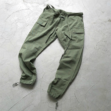 Vintage Green Belted Cargo Pants Tapered Cotton Twill Jogger