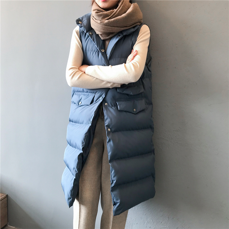 2019 Winter New Long Vests Women's Trendy Wild Thin Solid Color Stand Collar Sleeveless Casual Loose Single-breasted Vests Women