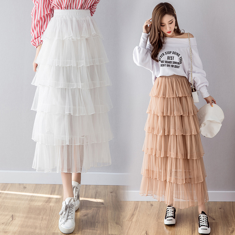 2019 Spring Clothing New Style Korean-style High-waisted Multi-Layer Cake Dress Puffy A- Line Fairy Skirt