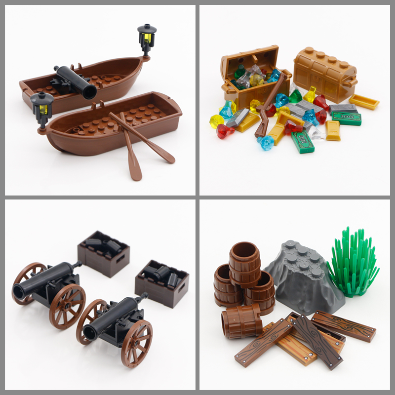 City Blocks Pirates Of The Caribbean Figure Accessories MOC Bricks Cannon Treasure Box Ship Gem Medieval Model Toys Compatible