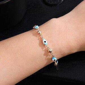 Image 5 - Gold Color Plated Blue Evil Eye Crystal Muslim Charm Islam Bracelets for Women Fashion Jewelry 3 Turkish Blue Eye Bracelet