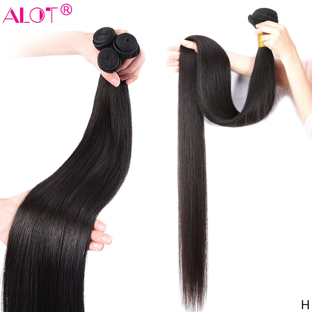 8 - 40 Inch Brazilian Straight Hair Bundle 100% Human Hair Weave Bundles Remy Hair Extensions 1 3 4 Bundles Alot