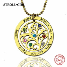 StrollGirl 925 Sterling Silver Personalized Circle Family Tree Birthstone 7 Names Necklace for Women Jewelry
