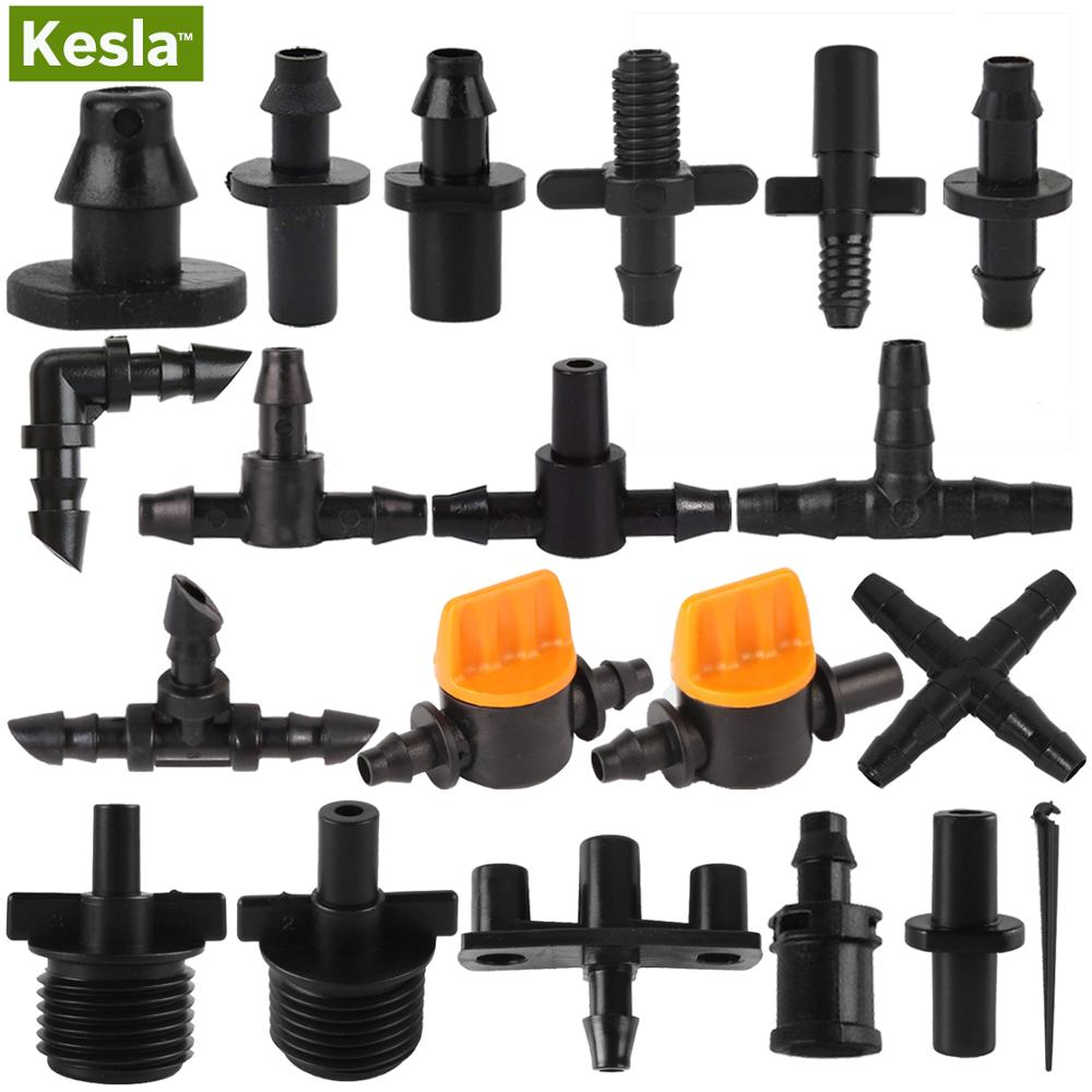 KESLA Irrigation Sprinkler 1/4 Inch Double Barb Tee Single Elbow Water Pipe Connector Fitting Repair For 4/7mm Hose Garden Nozzl