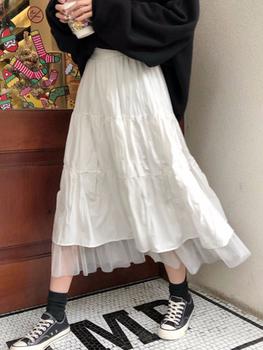 2020 długie spódnice dla kobiet spódnice Harajuku koreański styl biały czarny długa spódnica dla nastolatków spódnica z wysokim stanem spódnice szkolne tanie i dobre opinie WERUERUYU Knitting bawełna CN (pochodzenie) Osób w wieku 18-35 lat -Line NONE WOMEN empire Stałe W stylu Preppy Połowy łydki