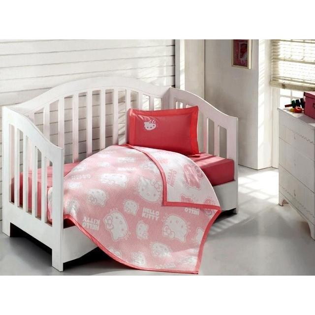 Комплект постельного белья детский VIRGINIA SECRET, Hello Kitty, розовый, с покрывалом