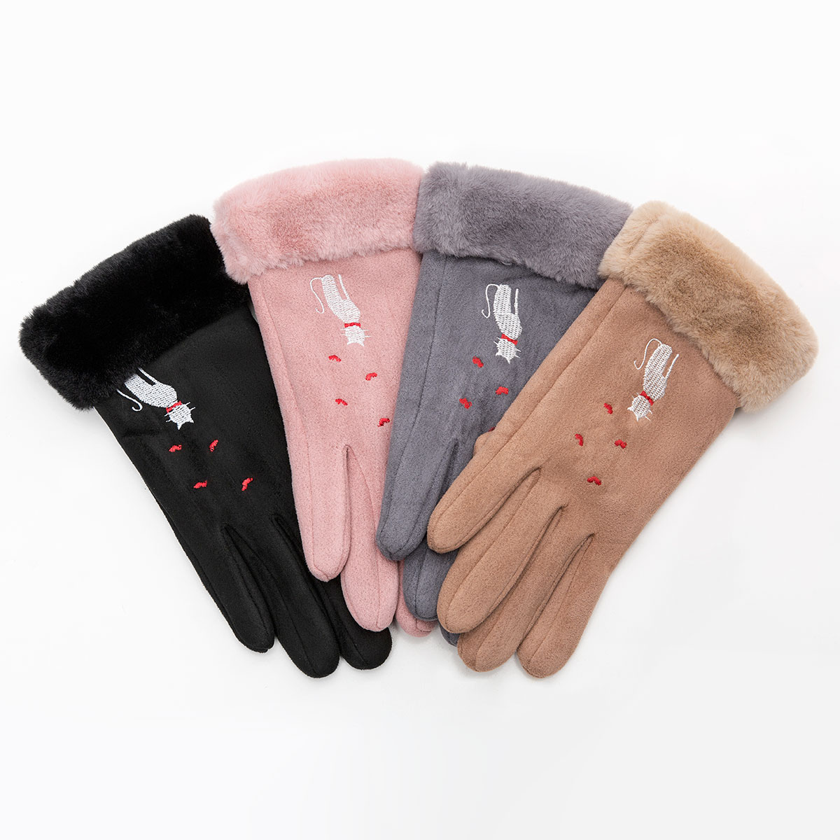 Winter Women Touch Screen Gloves with Embroidery made with a Special Conductive Fabric into Finger Tips for fast Navigation of All Touch Screen Device 5