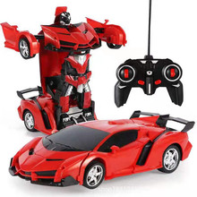 лучшая цена New 2 in 1 RC Car Toy Transformation Robots Car Driving Vehicle Sports Cars Models Remote Control Car RC Toy Gift for Boys