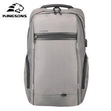 Kingsons mochila unissex impermeável, mochila impermeável unissex com entrada para carregador usb 13.3 e 15.6 para laptop, ideal para viagens e escola