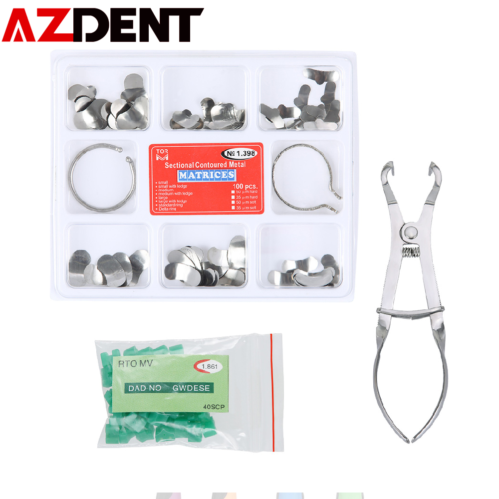 1set  Azdent Dental Sectional Contoured Matrix Sectional Contoured Matrices 40 Pcs Silicone Add-On Wedges No.1.398