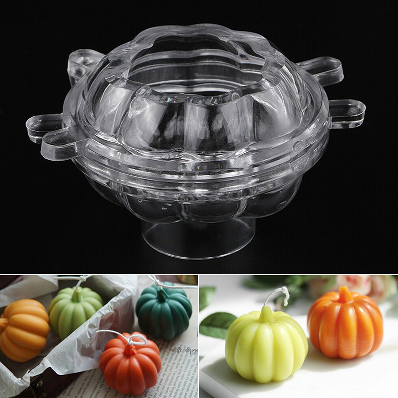 3D Plastic Pumpkin Shaped Candle Making Mould Clear Soap Mold DIY Handmade Soap Mould Halloween Craft Tools