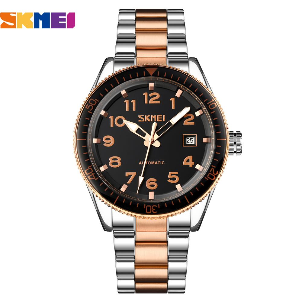 SKMEI New 2020 Luxury Men Mechanical Wristwatch Stainless Steel  Automatic Watch for Men Clock Male Top Brand Bussiness Hombre