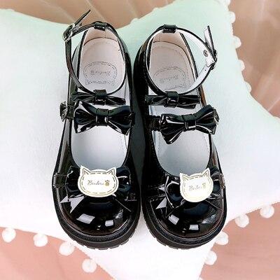 Купить японский из лакированной кожи туфли в стиле лолита винтажном