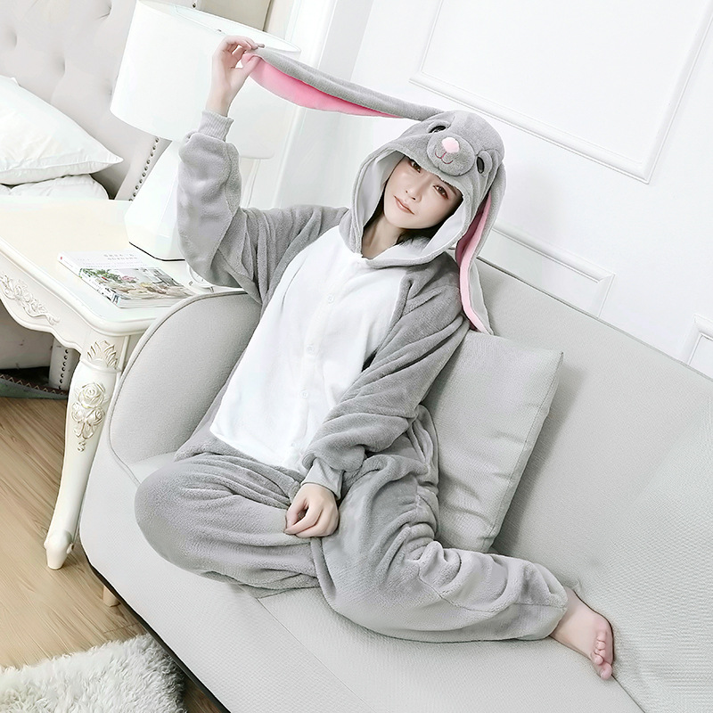 Hoodlum Rabbit Animal Women Pajamas Long Ear Bunny Onesie For Adults Animal MashiMaro One-Piece Pijama Halloween Cosplay Costume