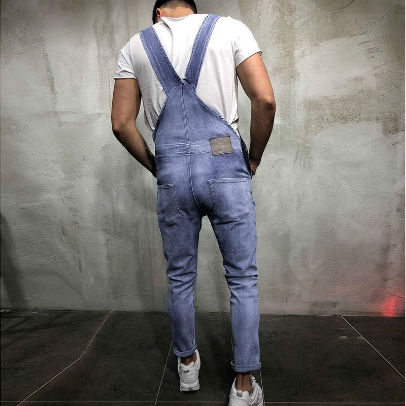 Men Plus Size Sleeveless Bib Pants Slim Fit Denim Long Trousers Overall Jumpsuit