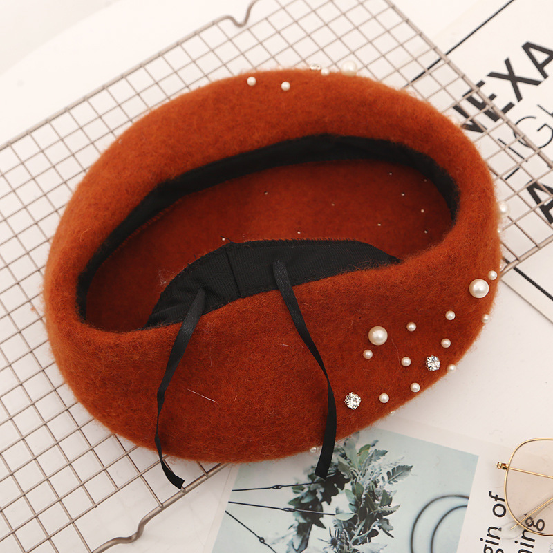 Pearl Beret Hat for Women Cashmere Winter Retro French Winter Black Red French Artist Flat Fashion Red Yellow Lady Vintage Cap