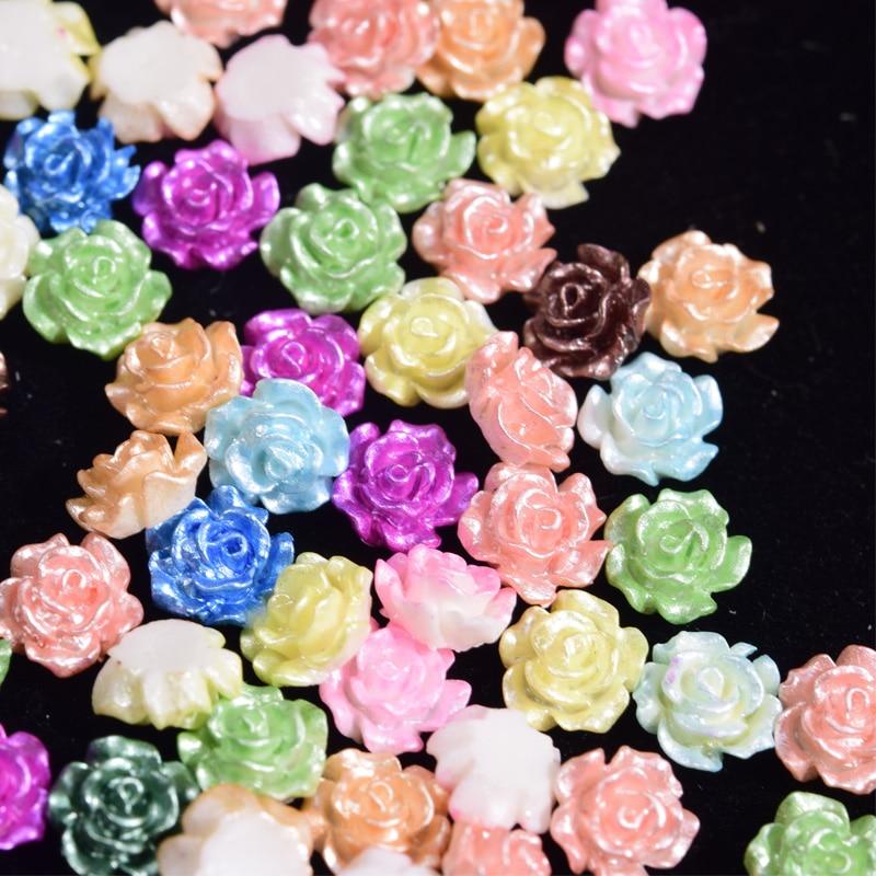 100 шт. микс цветочных гвоздей, жемчужные цветные стразы для дизайна ногтей, украшения для 3D ногтей, украшения для дизайна ногтей, принадлежно...